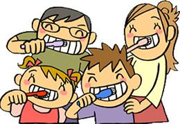 歯磨きをする家族のイラスト